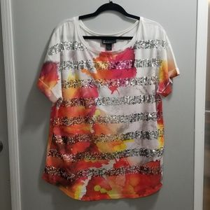 Lane Bryant white/org/pink/yellow sequin shirt